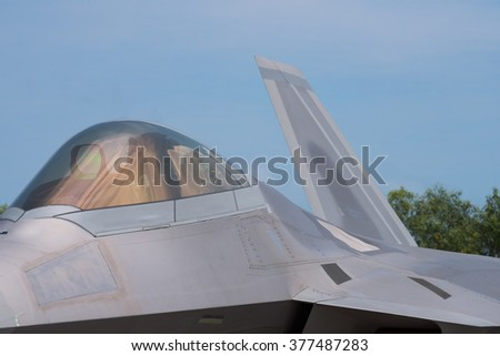 Detail of 5th generation fighter jet with stealth technology.