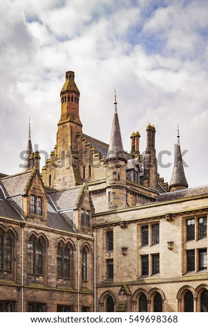 Detail of the architecture of Glasgow University, Scotland.