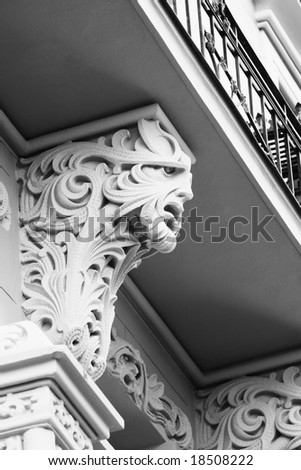 Detail of the Art Nouveau building facade (Old Town, Riga, Latvia)