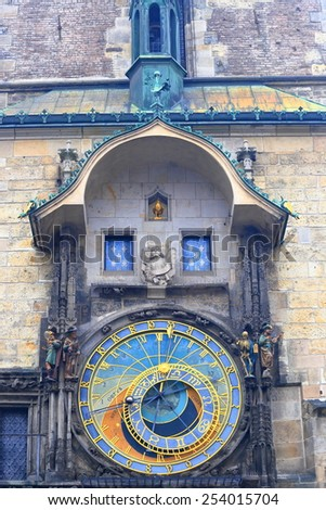 Detail of the Astronomical Clock in Prague Old Town, Czech Republic - stock photo
