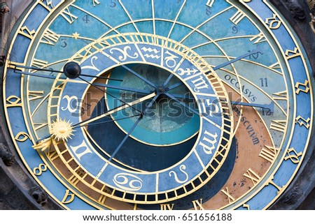Detail of the astronomical clock in the Old Town Square in Prague, Czech Republic