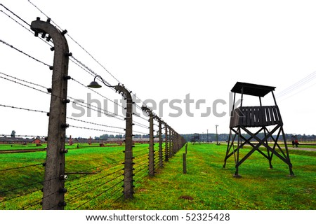 detail of the barbed fence in concentration camp in poland