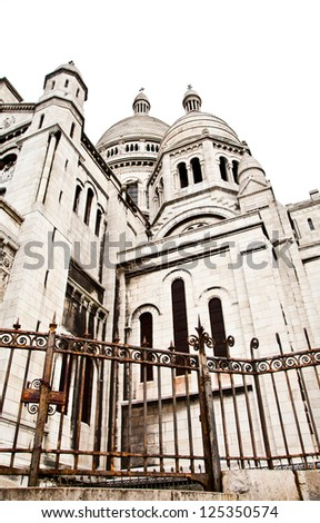 Detail of the Basilica of the Sacred Heart of Paris, commonly known as Sacr���©-C��?ur Basilica, dedicated to the Sacred Heart of Jesus, in Paris, France - stock photo