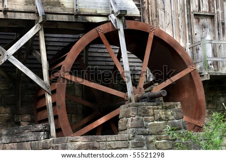 Detail of the beautiful historic Glade Creek Grist Mill Located in Babcock State Park, West Virginia - stock photo