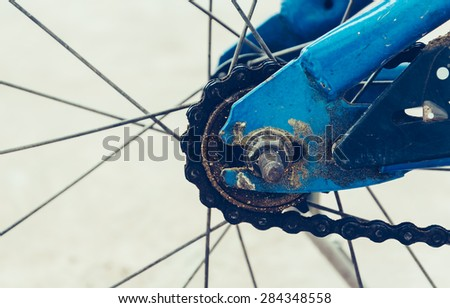 detail of the bicycle wheel - stock photo