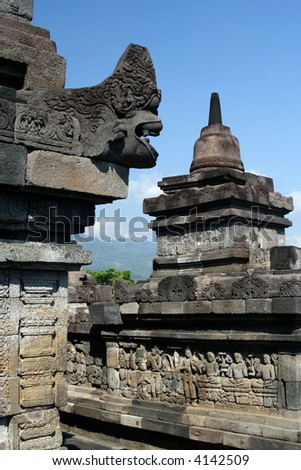 Detail of the Borobudur temple, the biggest Buddhist monument in the world