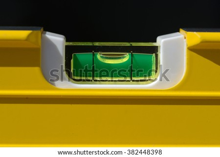 detail of the bubble in a spirit level - stock photo