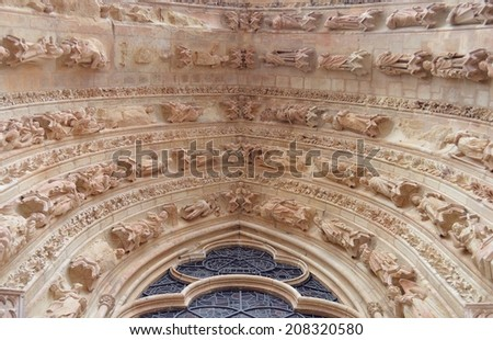 Detail of  the cathedral of Reims - France - stock photo