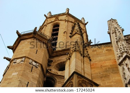 Detail of the Cathedral St.Sauveur (Holy Savior Cathedral) in Aix-en-Provence, France - stock photo