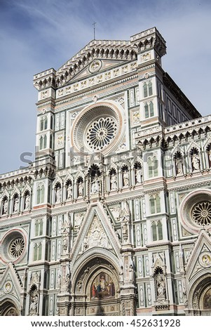 Detail of the Cattedrale di Santa Maria del Fiore in Florence, Italy - stock photo