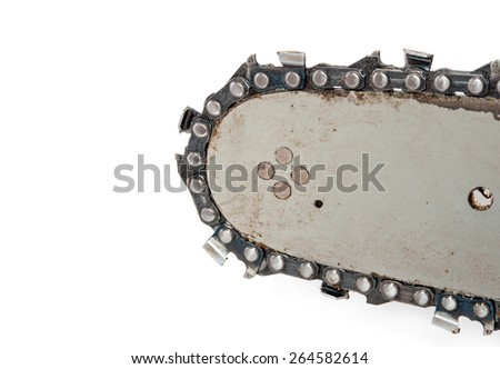 Detail of the chainsaw isolated on the white background - stock photo