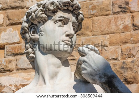 Detail of the David sculpture in Florence - Italy - stock photo