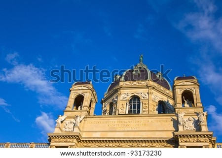Detail of the dome of the Art History Museum in Vienna, Austria, situated in Maria Theresien Square, with a beautiful blue sky. - stock photo
