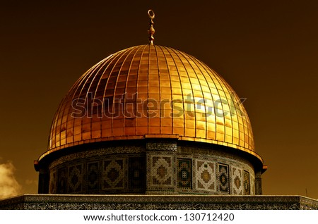 Detail of the Dome of the Rock, one of the most holy places of Islam. The dome is covered with 80 kilograms of gold. Located on the Temple Mount in the Old City of Jerusalem, Israel. - stock photo