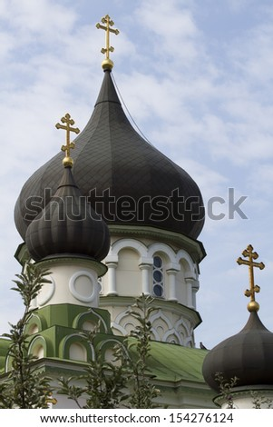 Detail of the domes of the Cathedral of the Intercession Monastery. Kiev. - stock photo