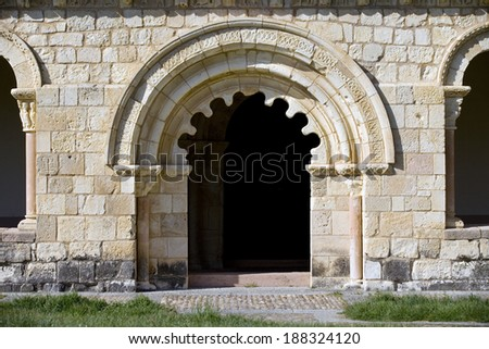 Detail of the door of Durat�³n Church, Segovia, Castilla and Leon, Spain. It is a romanic church built in the XIII Century. Romanic Door - stock photo