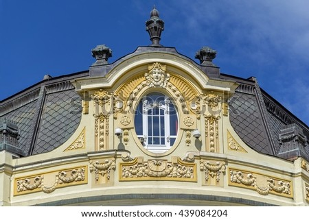Detail of the facade of a building in Art Nouveau Style - stock photo