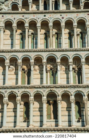 Detail of the facade of Cathedral in Pisa, Italy - stock photo