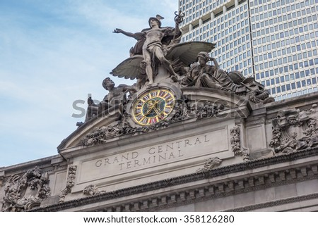 Detail of the facade of Grand Central Terminal in New York City, USA - stock photo
