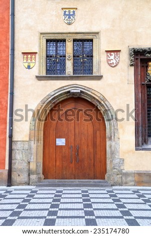Detail of the facade of old church, Prague Old Town, Czech Republic - stock photo