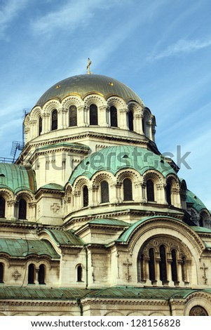 detail of the facade of St. Alexander Nevsky Cathedral in Sofia, Bulgaria - stock photo