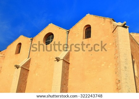 Detail of the facade of St Laurent church at sunset, Marseille, France - stock photo