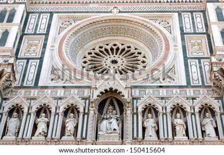 Detail of the facade of the Basilica di Santa Maria del Fiore in Firenze, Italy - stock photo