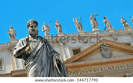 detail of the facade of the Basilica of Saint Peter, in Vatican City, Italy - stock photo