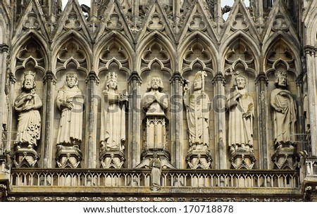 Detail of the facade of the cathedral of Notre-Dame de Reims, France  - stock photo