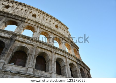 detail of the famous coliseum in rome