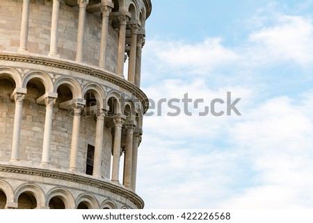 Detail of the famous Leaning tower of Pisa - stock photo
