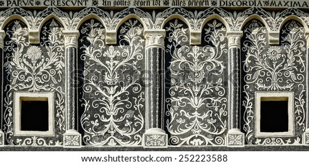 Detail Of The Fasade Of A Building In Presov, Slovakia - stock photo