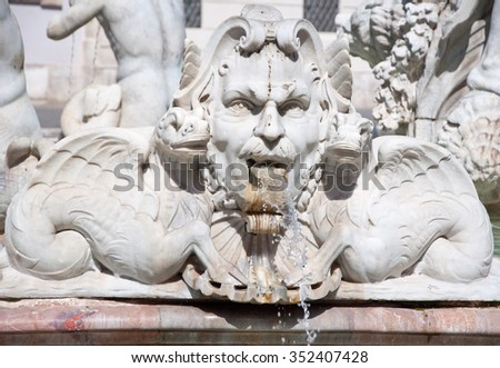 Detail of the Fontana del Moro on the Piazza Navona. Rome, Italy. - stock photo