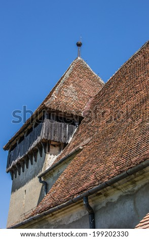 Detail of the fortified church in the town of Copsa Mare, Romania