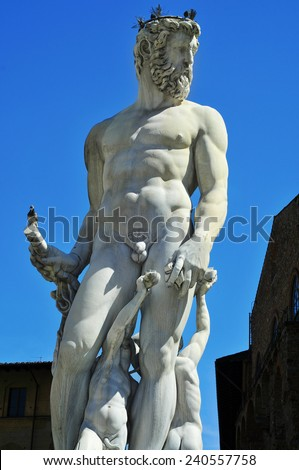 detail of the Fountain of Neptune located in Piazza della Signoria in Florence, Italy - stock photo