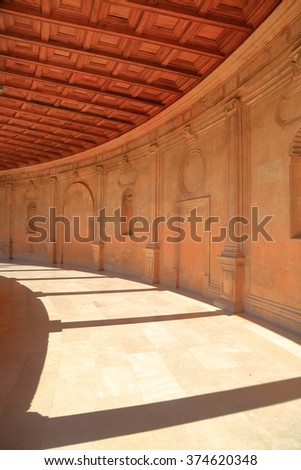 Detail of the gallery at the second level of the palace of Charles V inside the Nasrid fortification of the Alhambra in Granada,  Andalusia, Spain - stock photo