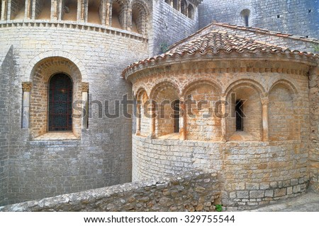 Detail of the Gellone monastery in Saint Guilhem le Desert, Languedoc Roussillon, France - stock photo