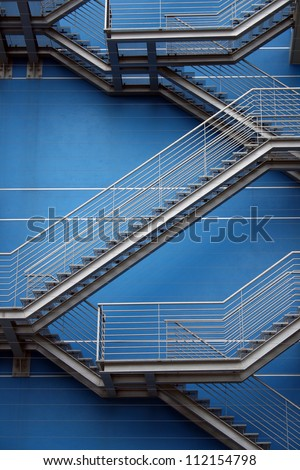 Detail of the geometric stairs of a building located at the Nations Park in city of Lisbon, Portugal - stock photo