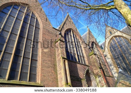Detail of the Gothic building of Sint Janskerk church in Gouda, the Netherlands - stock photo