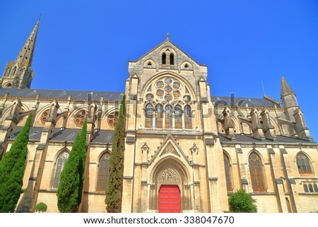 Detail of the Gothic building of St Baudile church in Nimes, Provence, France - stock photo