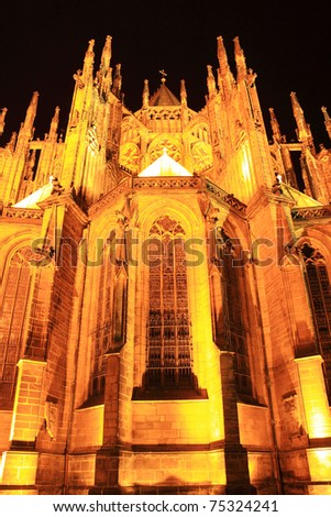 Detail of the gothic St. Vitus' Cathedral on Prague Castle in the Night, Czech Republic