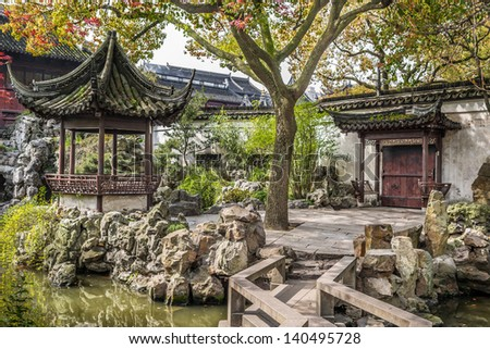 detail of the historic Yuyuan Garden created in the year 1559 by Pan Yunduan in shanghai china - stock photo