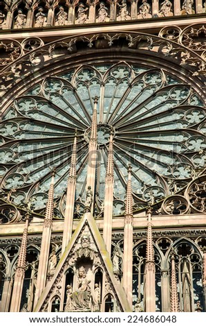 Detail of the imposing Strasbourg cathedral in France.