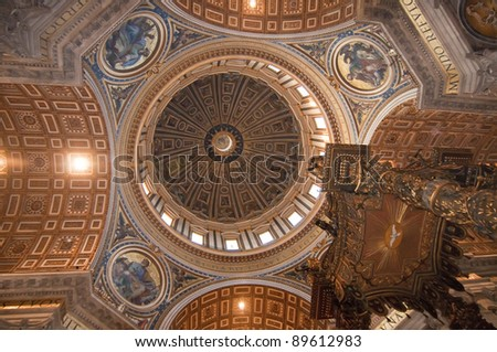 Detail of the inside of the dome of St. Peter's Basilica in Rome, Italy