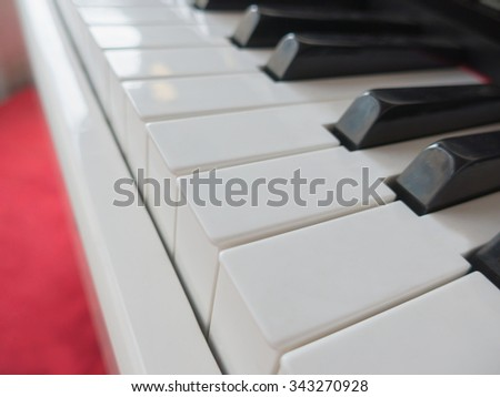 Detail of the keyboard of a white piano