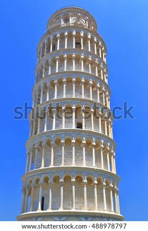 Detail of the Leaning Tower in Piazza dei Miracoli (Square of Miracles), Pisa, Tuscany, Italy
