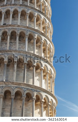 Detail of the Leaning tower of Pisa in Tuscany, Italy.