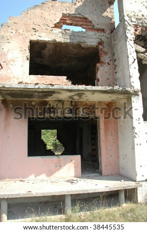 detail of the living room window of a private home near mostar in Bosnia where serbs attacked the house and murdered the occupants in a terryfying onslaught - stock photo