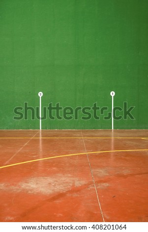 Detail of the marks in an fronton court, basque ball, Spain - stock photo