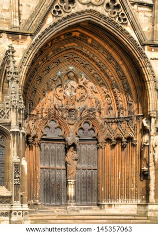Detail of the Medieval door at the South East corner of Lincoln Cathedral. HDR.
